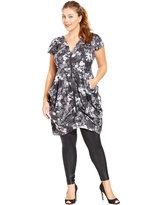 City Chic Trendy Plus Size Zip-Front Floral-Print Tunic Dress