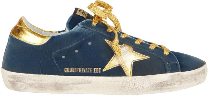 Golden Goose Superstar Blue Velvet Gold Star Sneakers