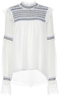 Jonathan Simkhai Embroidered silk top