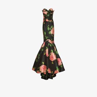 Richard Quinn Floral Polka-Dot Print Mermaid-Fit Gown