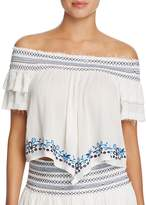 Surf Gypsy Embroidered Off-the-Shoulder Top Swim Cover-Up