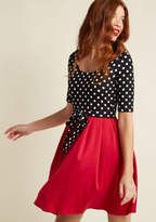 ModCloth In the Very Near Twofer Dotted Dress in Cardinal in 1X - Mini