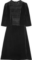 Maje Shirred Velvet Mini Dress - Black