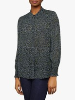 Jigsaw Dotted Flower Smocking Blouse, Navy