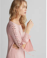 Express lace-up bell sleeve trapeze dress