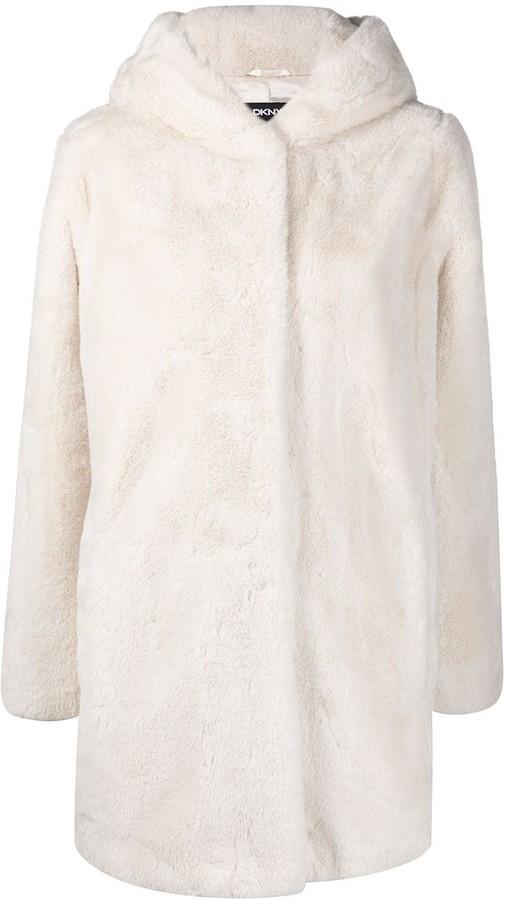 DKNY Faux-Fur Hooded Coat