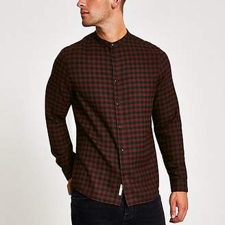 River Island Red check slim fit grandad collar shirt