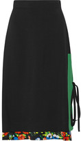 MSGM Layered Printed Crepe Skirt - Black