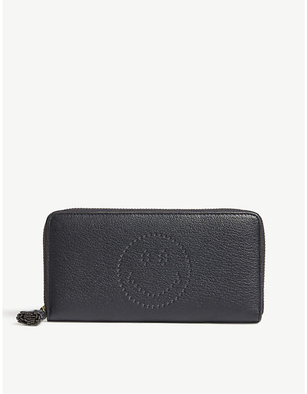 Anya Hindmarch Zip-around smiley face leather wallet