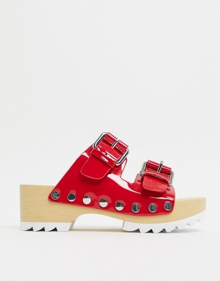 Calvin Klein Vancy chunky cleated clogs in red