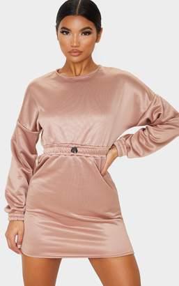 PrettyLittleThing Blush Satin Finish Drawstring Waist Sweater Dress
