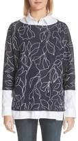 Lafayette 148 New York Chain Detail Floral Jacquard Sweater