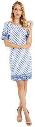 MICHAEL Michael Kors Medallion Border Hem Dress (White) Women's Dress