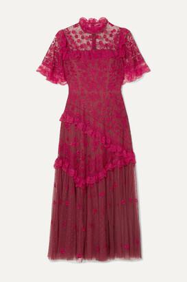 Needle & Thread Elsa Ballerina Ruffled Lace-trimmed Embroidered Tulle Midi Dress - UK6