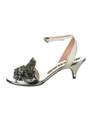 Rochas Leather Beaded Accents Sandals Silver