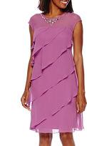 S. L. Fashions SL Fashions Beaded Neck Tiered Shift Dress