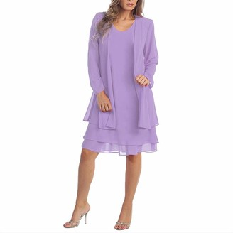 Moent Women's Lace Chiffon Dress Fashion Two Pieces Party Evening Charming Solid Color Mother of The Bride Mini Dresses for A Wedding Guest (Purple 3XL)