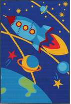 Space Blue Rubber Backed Kids Rug