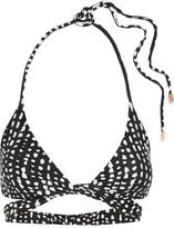 Vix Dot Printed Wrap Bikini Top - Black