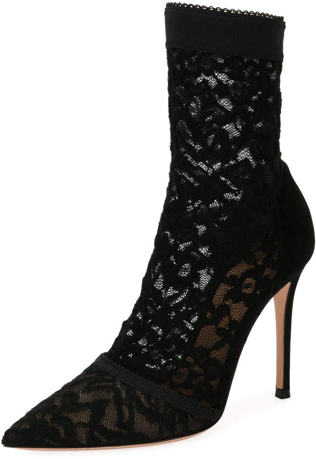 Gianvito Rossi Stretch-Lace 105mm Bootie