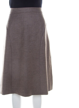 Escada Pine Brown Wool Tailored Rubla A Line Skirt M
