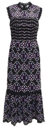 Sandro Fluted Embroidered Tulle Midi Dress