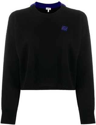 Loewe Anagram embroidered cropped jumper