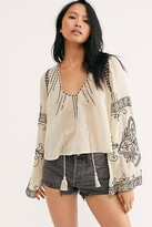 Free People Hear The Beat Blouse by Free People, Tea Combo, XS