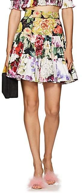 Dolce & Gabbana Women's Floral-Print Cotton Tiered Miniskirt