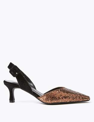 M&S CollectionMarks and Spencer Glitter Kitten Heel Slingback Court Shoes