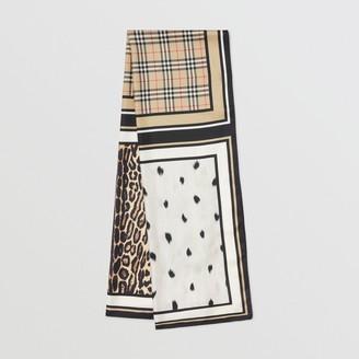 Burberry Vintage Check and Animal Print Silk Scarf