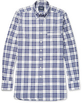 Drake's - Slim-fit Button-down Collar Checked Cotton Oxford Shirt