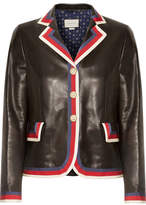 Gucci Grosgrain-trimmed Appliquéd Leather Blazer - Black