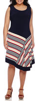 MSK Sleeveless Striped Asymmetrical-Hem Fit-and-Flare Dress - Plus