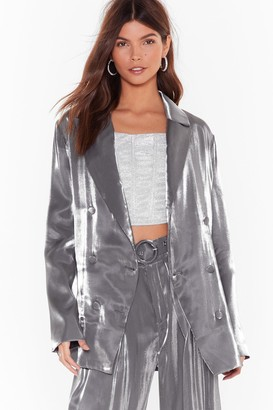 Nasty Gal Womens Let's Glow Metallic Double Breasted Blazer - grey - 6