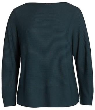 Lafayette 148 New York, Plus Size Ottoman Stitch Bateau-Neck Sweater
