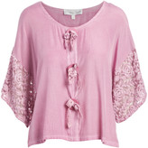 Pretty Angel Women's Blouses WINE(WN) - Wine Lace-Sleeve Button-Front Top - Women