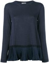 Moncler pleated hem top - women - Cotton/Polyester/Viscose - S