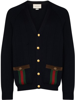 Gucci Web Stripe Pocket Cardigan
