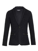 John Varvatos Cable-knit And Leather-trim Cardigan