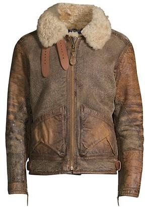 Polo Ralph Lauren Icelandic Shearling Collar Leather Bomber Jacket