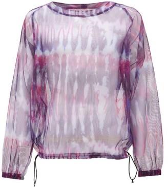 South2 West8 Tie-dye Mesh Long-sleeved T-shirt - Purple