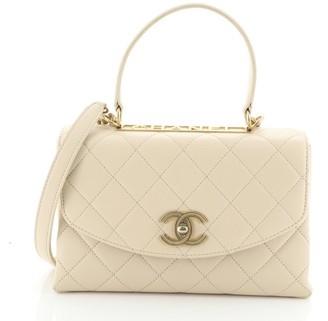 Chanel Top Handle Round Flap Bag Quilted Lambskin Medium
