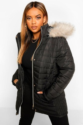 boohoo Plus Faux Fur Trimmed Puffer Belted Coat