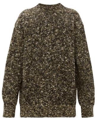 Raey Crew-neck Tweed-effect Wool-blend Sweater - Mens - Khaki