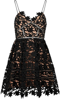 Self-Portrait Azaelea black guipure lace mini dress