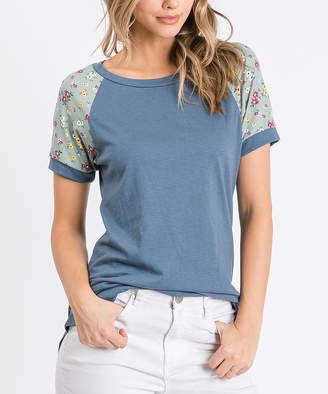Cool Melon Women's Tee Shirts Denim - Denim Blue & Sage Floral-Sleeve Raglan Tee - Women & Plus