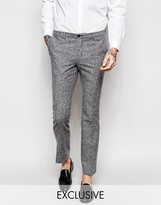 Noak Winter White Donegal Wool Suit Trousers In Super Skinny Fit
