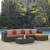 Tripp 5 Piece Rattan Sunbrella Sectional Seating Group with Cushions Brayden Studio Fabric: Tuscan