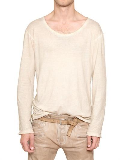 Balmain Washed Cotton Jersey Long Sleeve T-Shirt